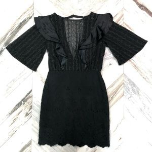 NWT Free People Black Eyelet Ruffle Silk Dress